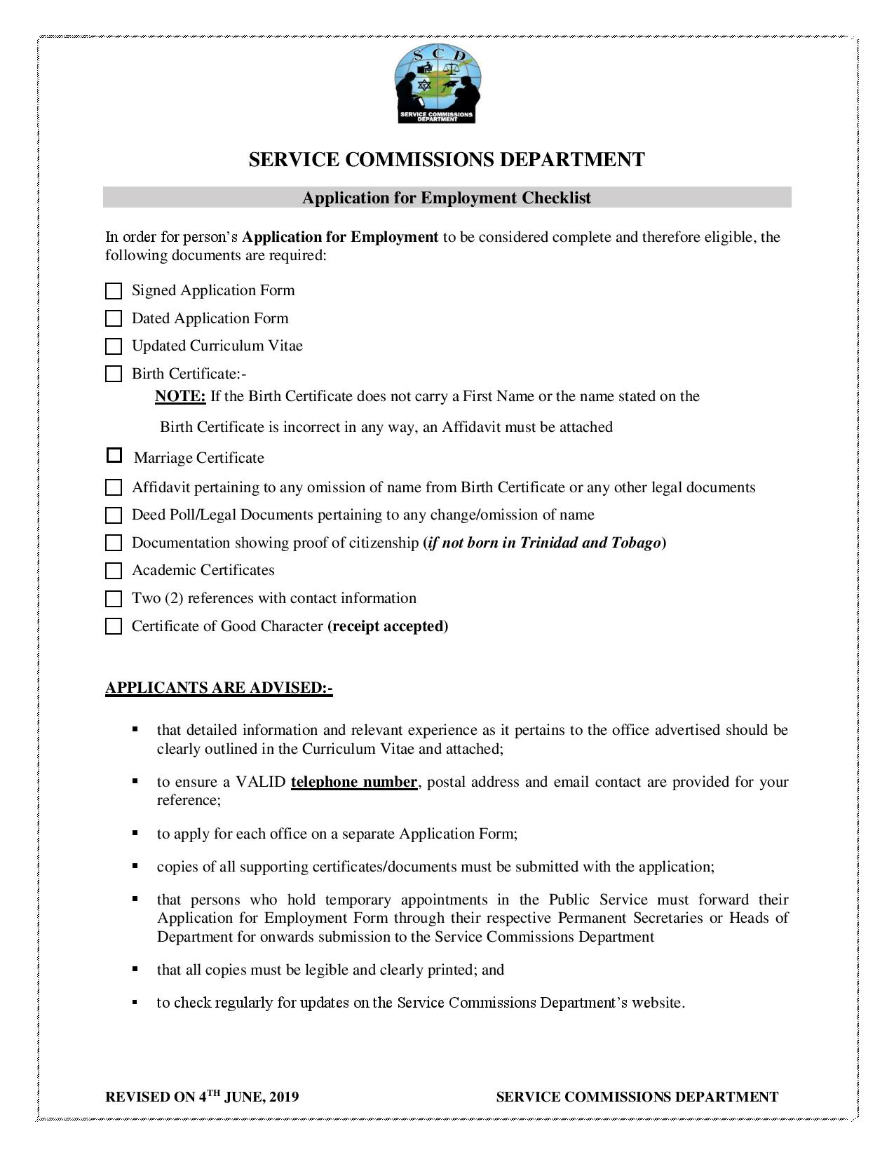 Application for Employment Checklist