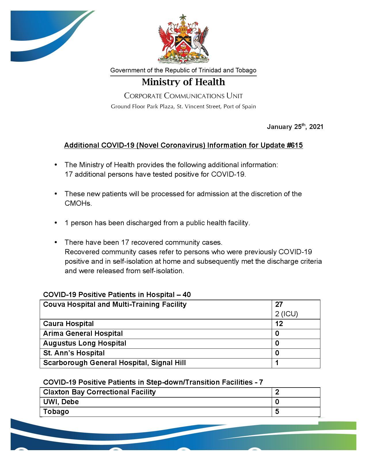 COVID-19 UPDATE - Sunday 24th January 2021