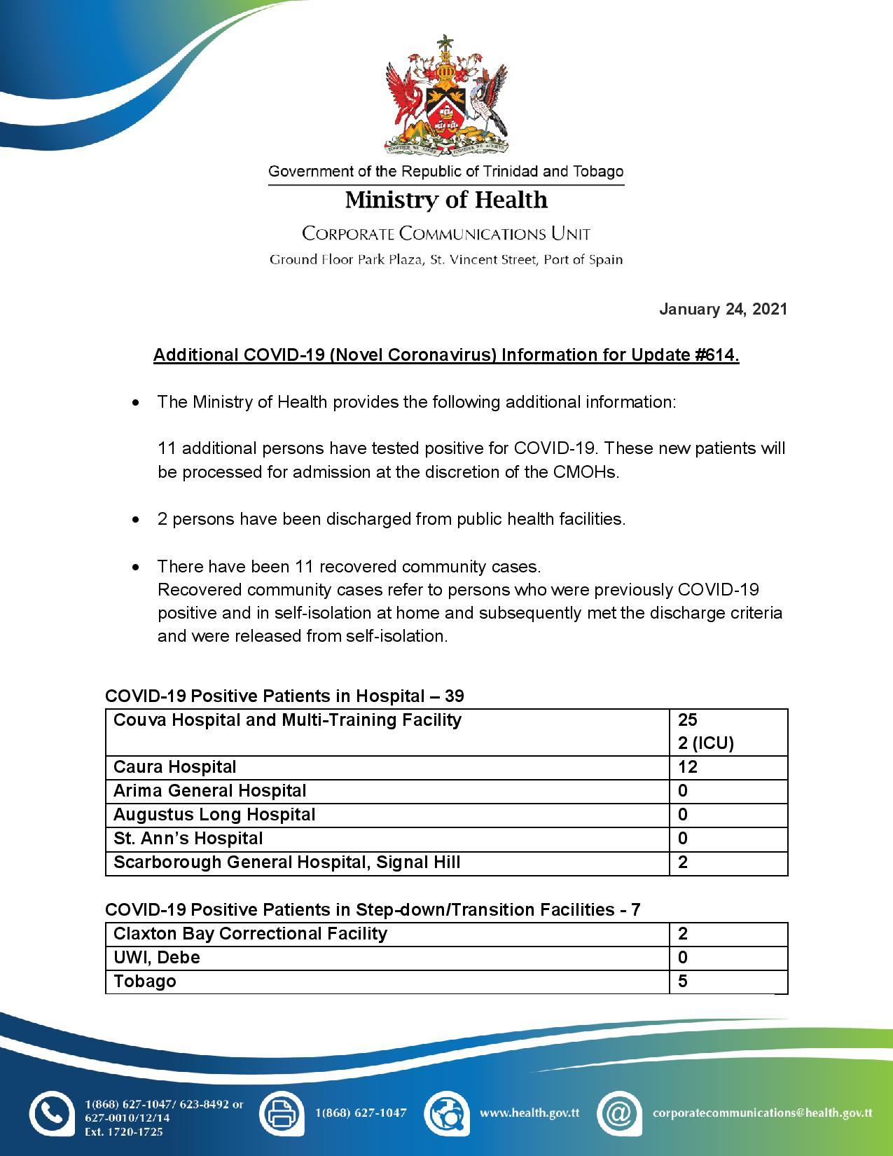 COVID-19 UPDATE - Sunday 24th January 2021 Additional