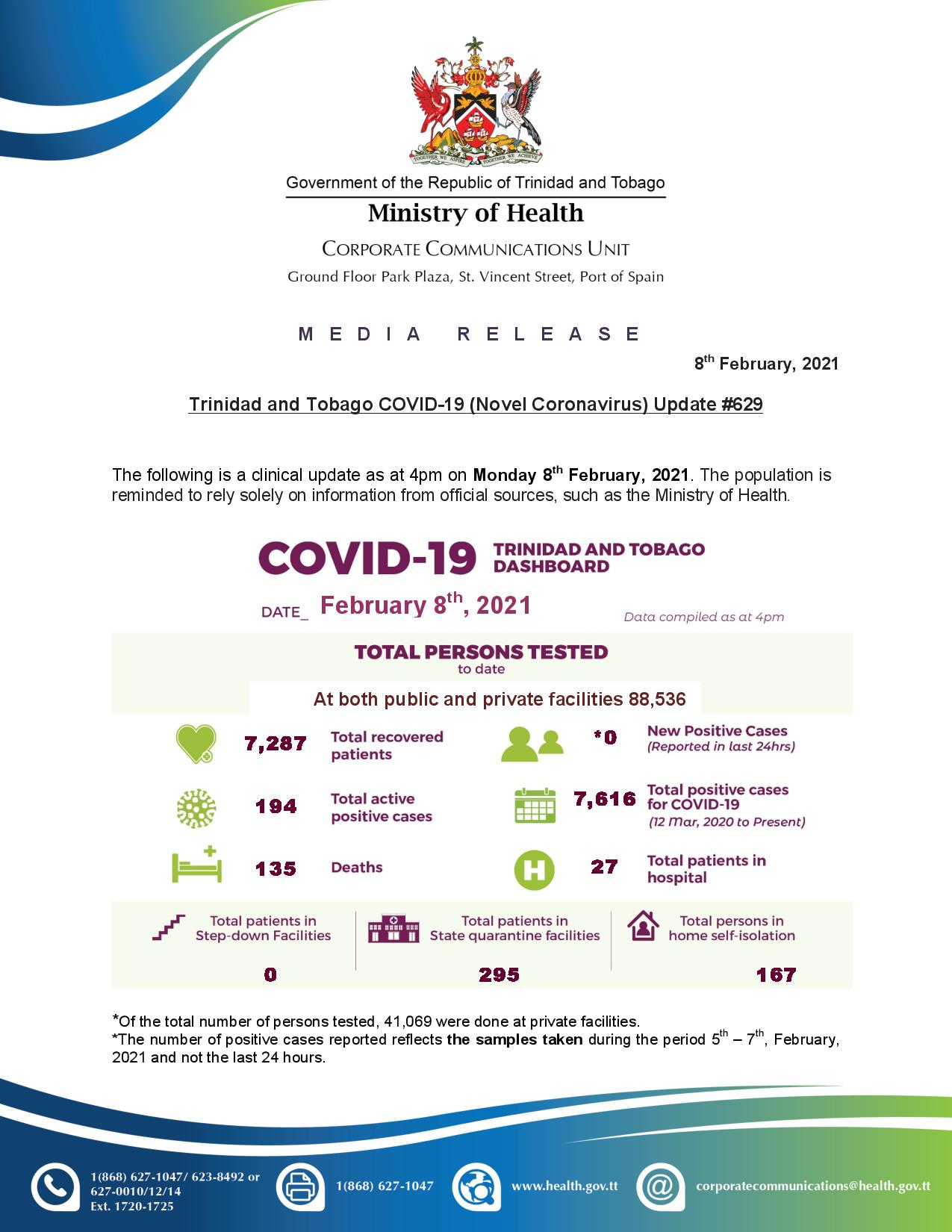COVID-19 UPDATE - Monday 8th February 2021