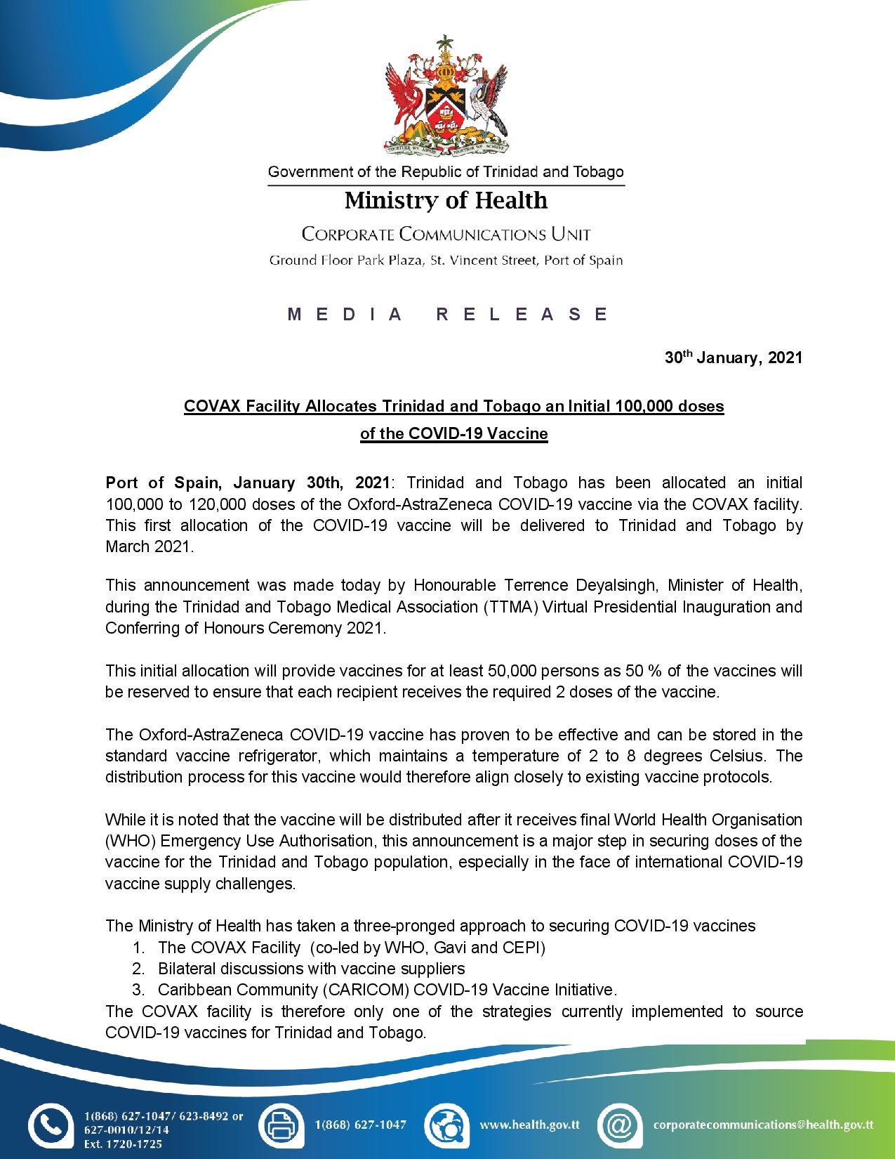 rinidad and Tobago allocated an initial 100,000 COVID-19 Vaccine doses page 1