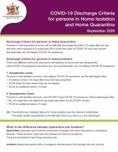COVID-19 Discharge Criteria for persons in Home Isolation and Home Quarantine